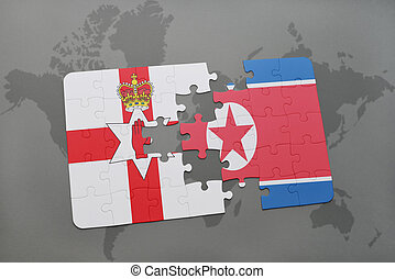 puzzle with the national flag of northern ireland and north...