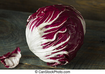 Raw Organic Purple Radicchio Lettuce Ready to Eat