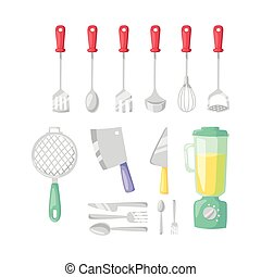 Kitchenware vector icons. - Kitchen blender and cooking...