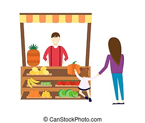 Street seller with stall fruits and vegetables illustration....