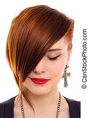 Retrato, estilo, bonito, vermelho, cabelo, mulher, fim, cima
