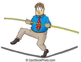 Tightrope Man - Business man doing a balancing act.