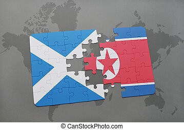 puzzle with the national flag of scotland and north korea on...