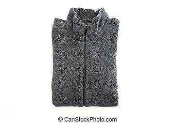 Black fleece jacket isolated on white background