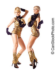 attractive go-go girls in gold costumes on white background