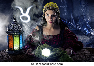 Taurus Horoscope Zodiac Sign with Psychic or Fortune Teller...