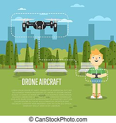 Drone aircraft banner with flying robot - Drone aircraft...