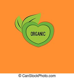 Vector icon organic - Round tag organic. Vector icon, badge,...