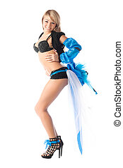 sexy go-go girl in beautiful costume isolated