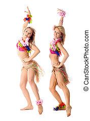 dos, hermoso, bailarines, hawaiano, trajes, aislado