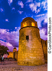 Night photo of Mosque in Sousse. Medieval architecture in...