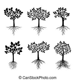 Black Trees with Roots. Vector Illustration.