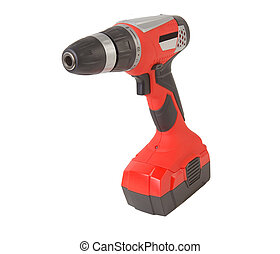 Rechargeable drill red isolated on white background