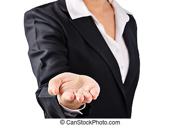Business woman in black suit open palm hand. - Business...