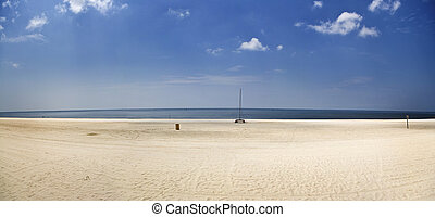 Empty Beach Panorama, Gulf Coast - A panorama of an empty...