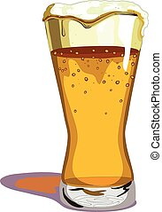 Tall, Foaming Pint of Beer - Tall beer glass with foam...