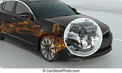 abstract City car structure overview during driving. 3d...