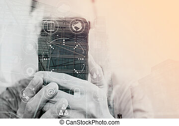 Double exposure of Businessman hand using mobile payments...