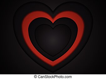 St Valentines Day abstract red black background. Vector love...