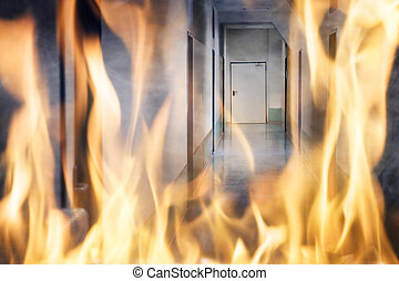 Fire Burning On The Corridor Of The Building - Building Fire...