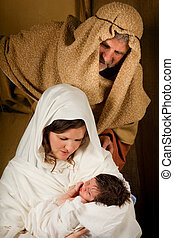 Living nativity - Living christmas nativity scene reenacted...