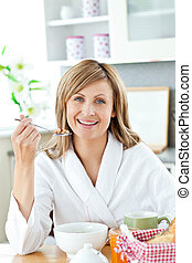 charming woman during the breakfast