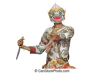 Hanuman mask in Thai classical style of Ramayana story...