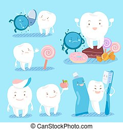 dental health concept - cute cartoon tooth with dental...