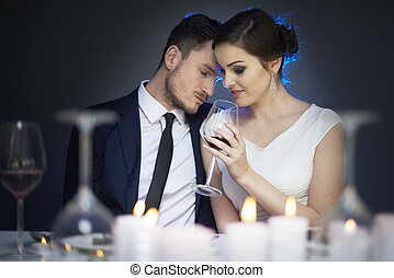 Close up of dating couple at dinner