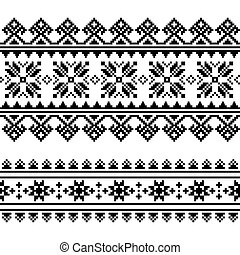 Traditional folk Ukrainian embroidery pattern in black and...