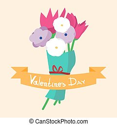 Valentine`s day background. Congratulatory bouquet of flowers with ribbon. Vector flat cartoon illustration.