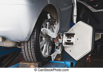 Car wheel fixed with computerized wheel alignment machine...