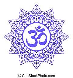 om aum symbol - om symbol, aum sign, with decorative indian...