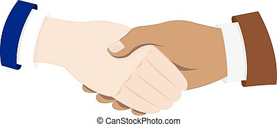 business men hands shaking - a vector cartoon representing...