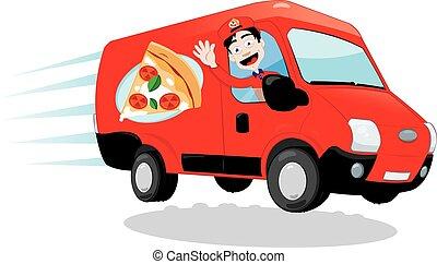 Funny Pizza Delivery van - a vector cartoon representing a...
