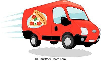 Pizza Delivery van - a vector cartoon representing a funny...