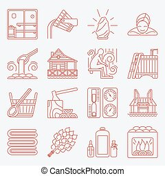 Set of Sauna Line Icon - Modern Vector Line Icons with...