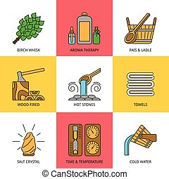 Sauna Theme Icon Set - Set of Vector Sauna Icons made in...