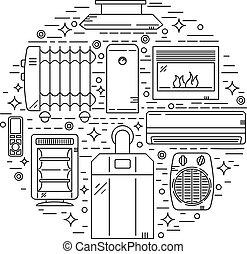 House Heating Vector Illustration - Unique Circle House...