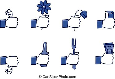 Social network hands set - part 2 - a set of funny icons -...