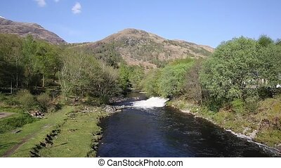 Water cascading into River Leven Kinlochmore near...