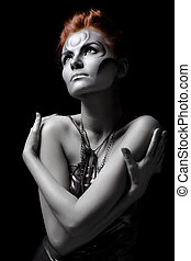 Portrait body art girl silver