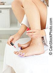 浴室, 婦女, 她, 年輕, 有吸引力, 修飾, 趾甲