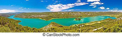 Krka river national park panoramic view with Visovac...