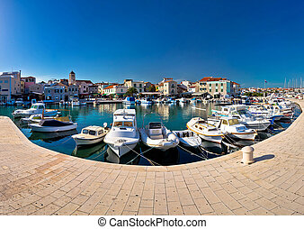 Town of Vodice waterfront panorama, Dalmatia, Croatia