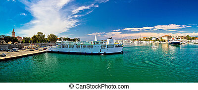 Town of Zadar waterfront and ferry harbor panoramic view,...
