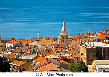 Town of Senj rooftops and waterfront view, Primorje, Croatia