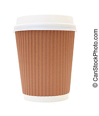 Coffee cup and heat insulation on white background.