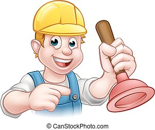 Plumber Holding Plunger with Hard Hat - A handyman plumber...