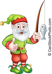 Cartoon Fishing Garden Gnome - A cartoon cute garden gnome...